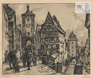 rothenburg ob der tauber am pl nlein ansicht der altstadt von rothenburg mit soldaten die vor. Black Bedroom Furniture Sets. Home Design Ideas
