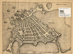 Stralsundia. Ansicht von Stralsund mit Hafen, Befestigungsanlagen,: Johannes Staud (Lebensdaten