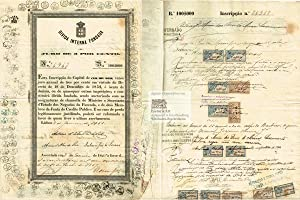Divida Interna Fundada. Juro de 3 por cento. Government Bond of the Kingdom of Portugal for 100$0...