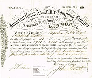 Imperial Union Assurance Company, Limited. Certificate for 50 Shares of Five Pounds each on the n...