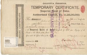 Imperial Bank of India. Calcutta Register. Temporary Certificate of 10 fully paid shares for John...