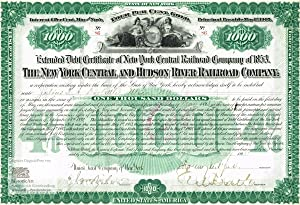 The New York Central and Hudson River Railroad Company. Extended Debt Certificate of New York Cen...
