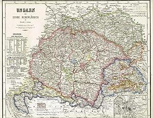 Ungarn und seine Nebenländer. Große Landkarte von: Major Carl Radefeld