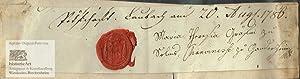 Maria Theresia Gräfin zu Solms. Eigenhändige Unterschrift: Maria Theresia (1747-1817),