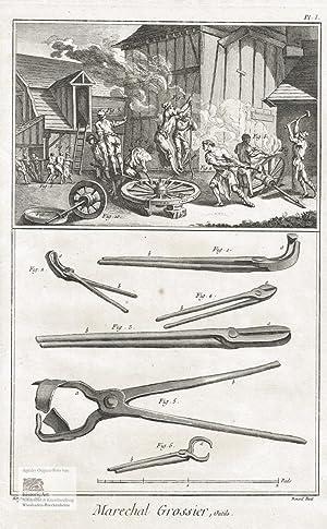Marechal Grossier, Outils. Blick in den Hof: Denis Diderot; Jean