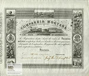 Companhia Mogyana. Rare certificate of a founders' share for 200$000 Reis with decorative steel e...
