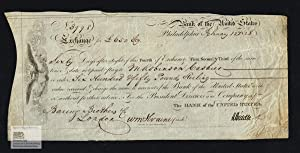 Bank of the United States. Bill of Exchange for 650 Pounds Sterling to Baring Brothers in London,...