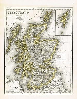 Schottland. Große Landkarte von den Hebriden und: Major Carl Radefeld