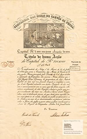 Companhia das Minas de Carvao de Pedra. Decorative share certificate of one share of 100$000 Reis...