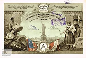 Czechoslovak Commercial Corporation of America. Certificate of one share of 500 crowns, Prague 19...