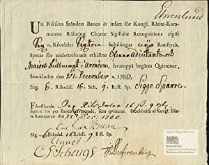 Riksens Staenders Banco. Receipt for metal money, Stockholm 1780