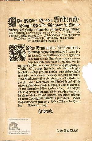 Von Gottes Gnaden Fridrich Koenig in Preussen/Marggraf: Friedrich I. (1657-1713),