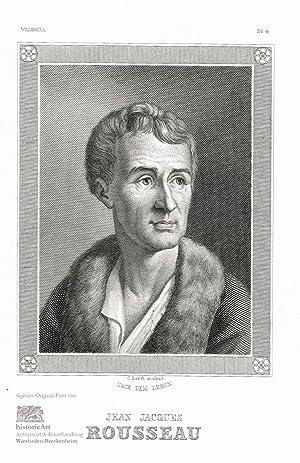 Jean Jacques Rousseau. Brustbild mit Nerzjacke nach: Jean Jacques Rousseau