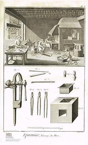 Eperonnier. Sporenmacher. Blick in eine Werkstatt mit: Denis Diderot; Jean