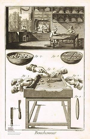 Bouchonnier. Korkschneider. Blick in eine Werkstatt mit: Denis Diderot; Jean