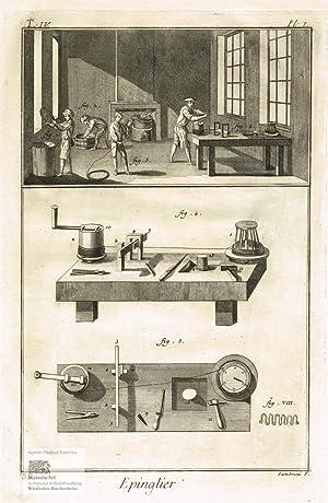 Epinglier. Stecknadelmacher. Blick in eine Werkstatt mit: Denis Diderot; Jean