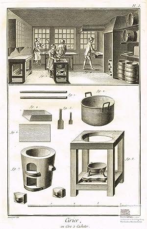 Cirier. Siegellackhersteller. Blick in eine Werkstatt mit: Denis Diderot; Jean