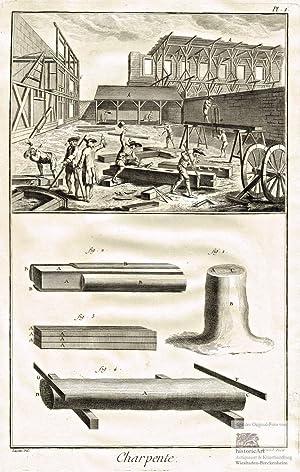 Charpente. Zimmermann. Ansicht einer Baustelle mit Arbeitern: Denis Diderot; Jean