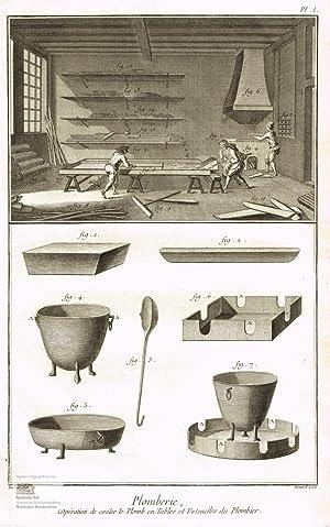 Plomberie. Zinngießerei. Blick in eine Werkstatt mit: Denis Diderot; Jean