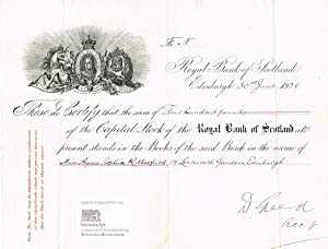Royal Bank of Scotland, rare certificate of 400 Pounds Sterling to the name of Agnes Sophia Ruthe...