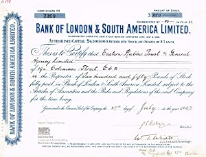 Bank of London & South America Limited. Certificate of 50 shares of 250 Pounds Sterling, London 1943