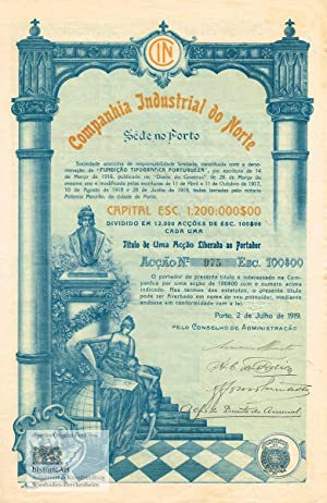 Companhia Industrial do Norte. Very decorative certificate of a printing company with sculpture o...