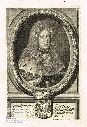 Fridericus Tertius Marchio Brandenburgi. Halbfigur in Rüstung: Friedrich I. (1657-1713),