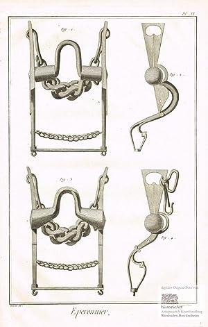 Eperonnier. Sporenmacher. Teile von kunstvoll gearbeiteten Kandarren,: Denis Diderot; Jean