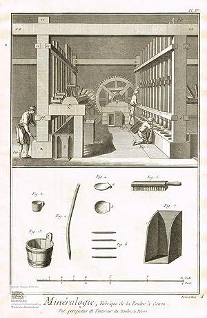 Mineralogie. Herstellung von Kanonenpulver. Innenansicht einer Pulvermühle: Denis Diderot; Jean
