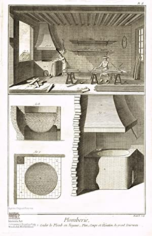 Plomberie. Bleigießer. Innenansicht einer Werkstatt mit Bleigießern,: Denis Diderot; Jean
