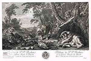 Löwenjagd in Landschaft mit wilden Tieren. Kupferstich: Peter Paul Rubens