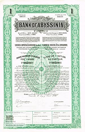 Bank of Abyssinia. Share Warrant to bearer for one share of 5 Pounds Sterling, Cairo 1906