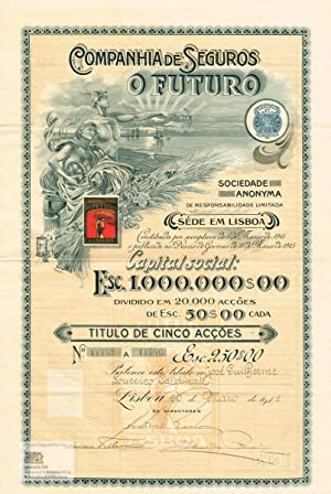 Companhia de Seguros o Futuro. Certificate of one share with multi-color gilt-decorated lithograp...