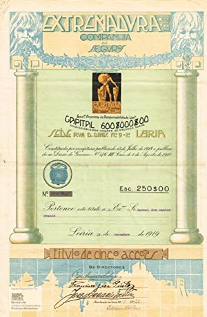 Extremadura Companhia de Seguros. Certificate of five shares with 50 Escudos each. Decorative and...
