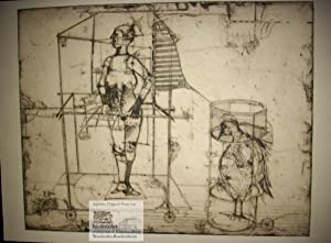 Oczekiwanie. Big bird in a cage awaiting the appearance of its domina in corslet with helmet and ...