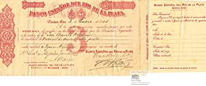 Banco Espanol del Rio de la Plata S.A. Second of Exchange for 250 Pesetas, Buenos Aires 1905