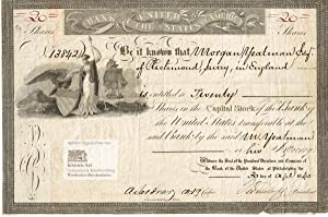 Bank of the United States of America. Certificate of 20 shares with very decorative vignette of s...
