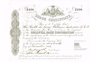 Oriental Bank Corporation. Certificate of one share of 25 Pounds Sterling, London 1851. With Embo...