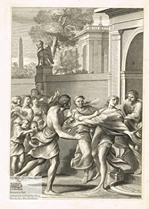 Harmonillus wird in einen Zitronenbaum verwandelt. Kupferstich: Cornelis Bloemaert (1603-1692),