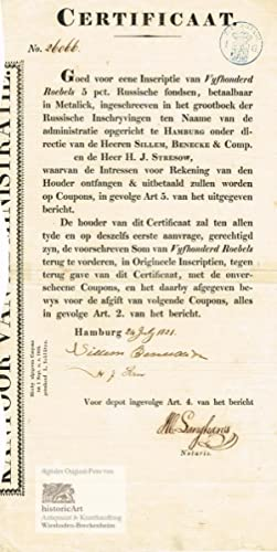 Certificaat goed voor eene Insriptie van 500 Roubles. Certificate of the first foreign investment...