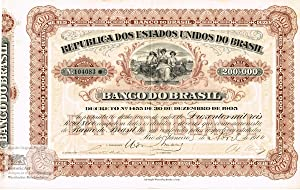 Republica dos Estados Unidos do Brasil. Banco do Brasil. Certificate of one founders share of 200...