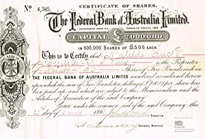 The Federal Bank of Australia Limited. Rare certificate of 90 shares of five Pounds Sterling each...