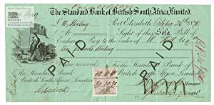 The Standard Bank of British South Africa, Limited. Sola Bill of Exchange for 10 Pounds Sterling ...