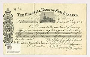 The Colonial Bank of New Zealand. Decorative Second of Exchange for 13 Pounds Sterling five Shill...