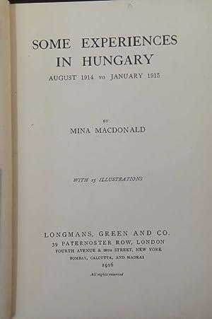 Some Experiences in Hungary: Mina Macdonald