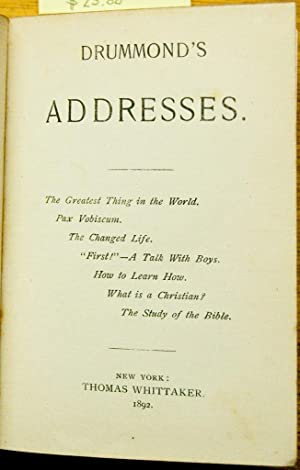 Drummond's Addresses: Drummond (Professor)