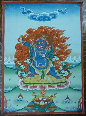 A medium-sized hand-painted Tibetan painted scroll (thangka) depicting the Mahayana Buddhist deit...