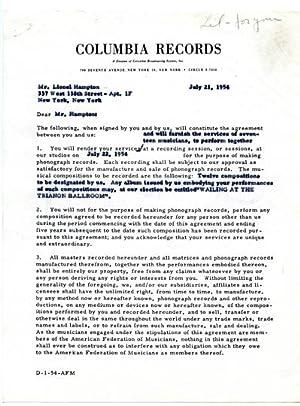 Lionel Hampton Signed Original 1954 Columbia Records Recording Contract