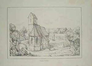 Kirche in Schlatt.: Original-Feder-Lithographie: