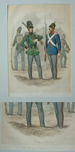 Military Costumes of Baden / Fusileer / Sharp Shooter / Grenadier.: Lithographie: